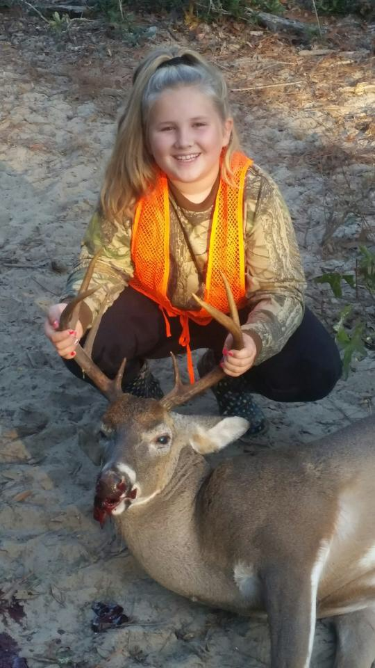 Taylor McClelland age 10 killed her first deer opening day of 2018 season in Atkinson County