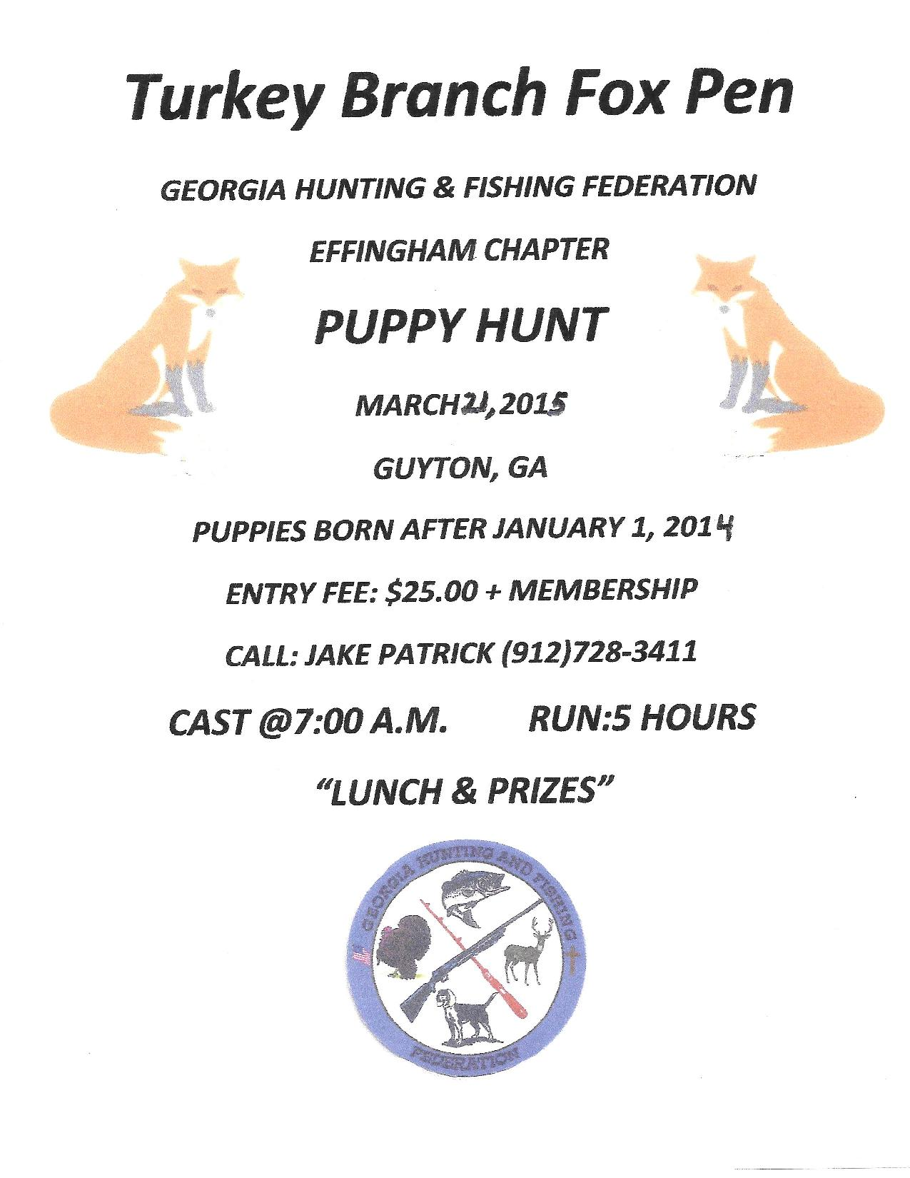 GHFF Effingham Chapter Puppy Hunt March 21st 2015