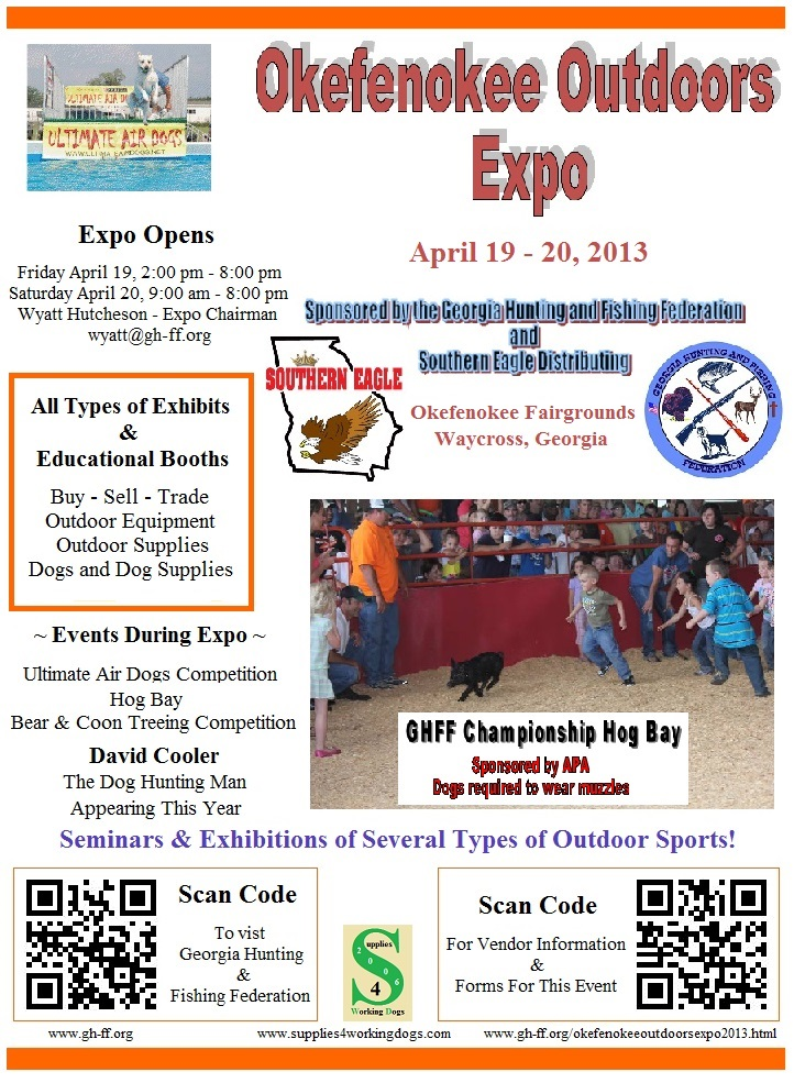 Okefenokee Outdoors Expo April 19th & 20th in Waycross Georgia at the Okefenofee Fairgrounds