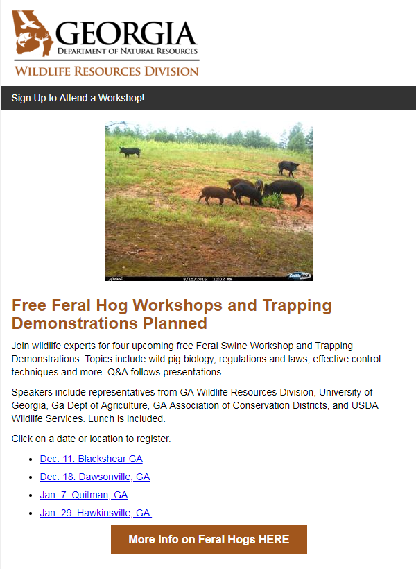 Free Feral Hog Workshops and Trapping Demonstrations