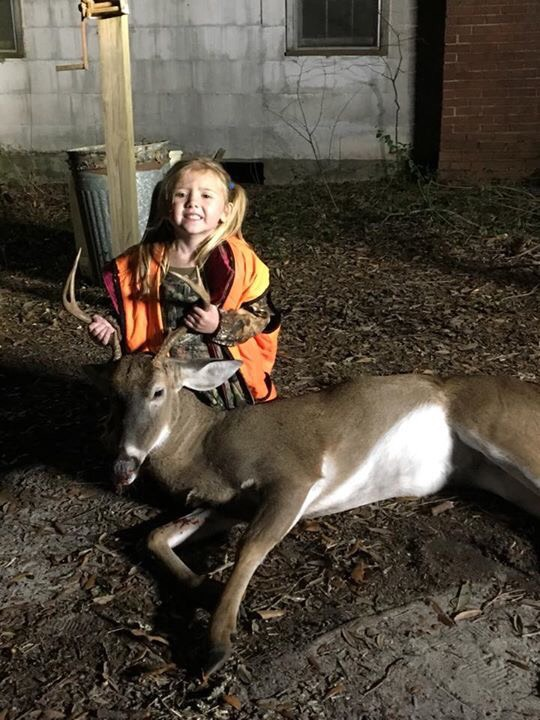 Brantley Brown 4 years old, killed her first buck on November 19th, 2017 while hunting with her Dad Jeremy