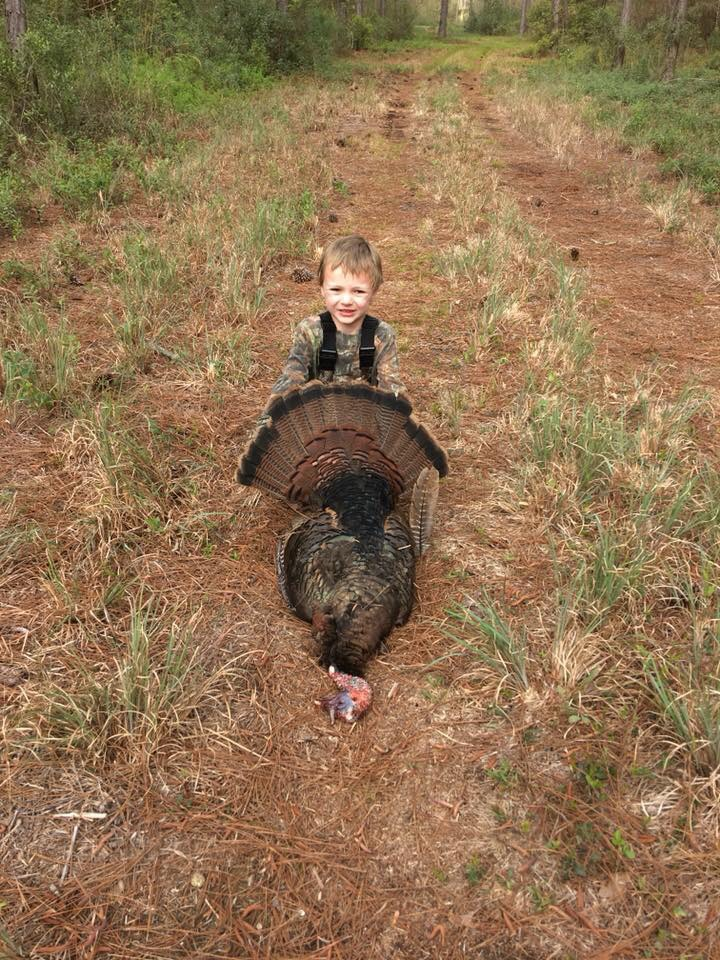 Caiden Hardy age 7 got his First Turkey