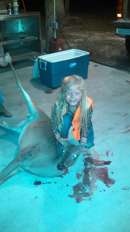 Kendlyn Taylor got her first deer at age 6 and as tradition goes she got the blood on her face