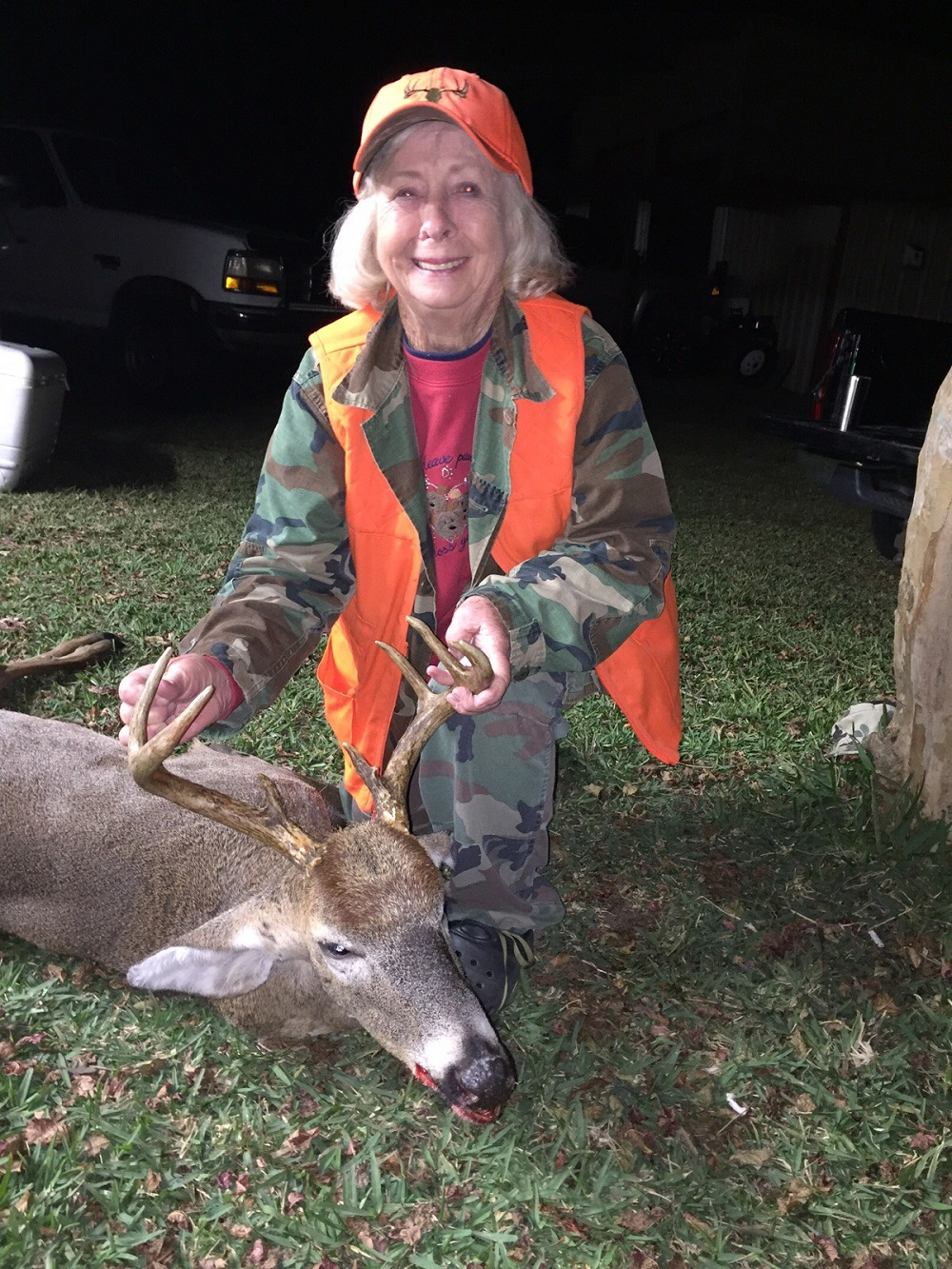 Lee Cornelius, 80 years young killed this 9 pt. Bruiser buck while hunting with her daughter in Lowndes County
