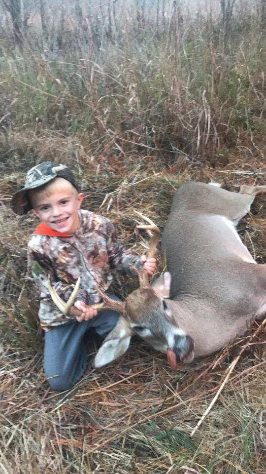 Peyton Grantham 4 had a good week killing a doe and a 8 point buck sitting with his dad! Willachoochee, Georgia
