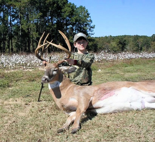 9 year old Sumner Powell took this 150 inch 12 point buck in Tift County