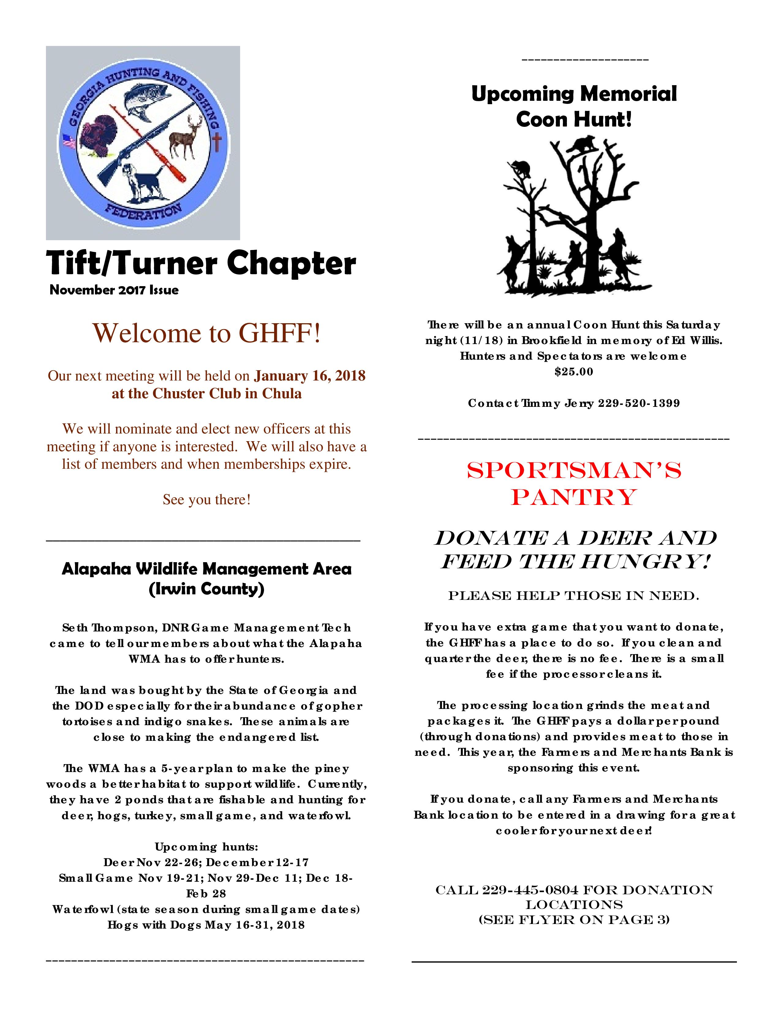 GHFF - Tift-Turner Chapter News Letter
