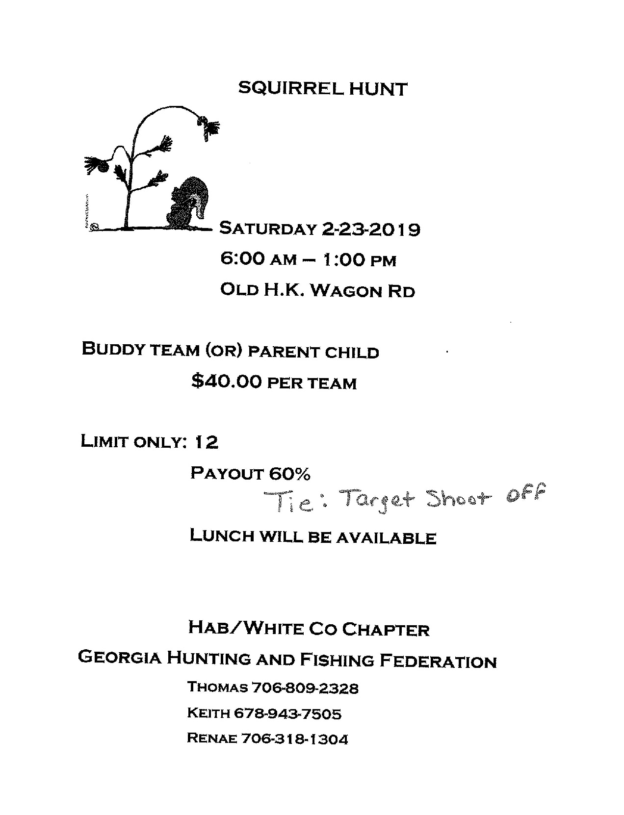 GHFF Habersham - White Chapter Squirrel Hunt February 23th 2019